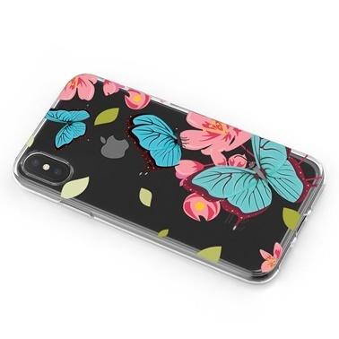 Lopard iPhone Xs Max Kılıf Silikon Arka Koruma Kapak Mavi Kelebekler Desenli Renkli